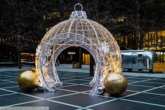 Giant walkthrough Christmas bauble constructed purely out of fairy lights in the Broadgate Centre in London London Bridge, Tower Of London, London City, Christmas Arch, Christmas Decor, You Are The World, Our World, Liverpool Street, Winter Wonderland Christmas