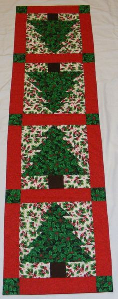 holly and trees table runner christmas runnerchristmas quiltingchristmas