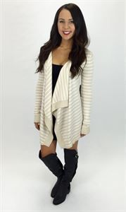 Junky Trunk Boutique. College Ruled Stripe Cardi.Taupe and white striped cardi. Adorable with boots for fall:)