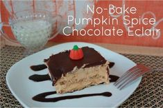 Easy Desserts - No Bake Pumpkin Spice Chocolate Eclair Recipe No Bake Desserts, Easy Desserts, Delicious Desserts, Dessert Recipes, Yummy Food, Cold Desserts, Holiday Desserts, Healthy Desserts, Baked Pumpkin