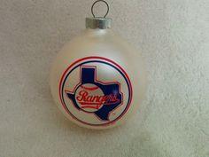 Topperscot  Christmas Tree Ornament,MLB Team,Texas Rangers  baseball White #topperscot #TexasRangers