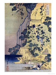 Travellers Climbing Up a Steep Hill to Pay Homage to a Kannon Shrine in a Cave by the Waterfall Giclee Print by Katsushika Hokusai - AllPosters.co.uk