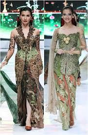The kebaya is the national costume of Indonesia, although it is more accurately endemic to the Javanese, Sundanese and Balinese people.  It is sometimes made from sheer material such as silk, thin cotton or semi-transparent nylon or polyester, adorned with brocade or floral pattern embroidery. Kebaya usually worn with a sarong or batik kain panjang, or other traditional woven garment such as ikat, songket with a colorful motif.