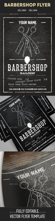 Barbershop Flyer Template — Photoshop PSD #razor #barber shop flyer • Available here → https://graphicriver.net/item/barbershop-flyer-template/10394309?ref=pxcr