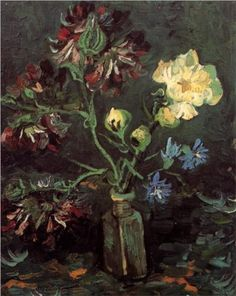 Vase with Myosotis and Peonies - Vincent van Gogh