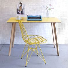 Winter's Moon Perky Yellow Formica Table / Desk