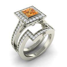 1 79ct Citrine Diamond Engagement Wedding Ring in Solid 14k White Gold | eBay