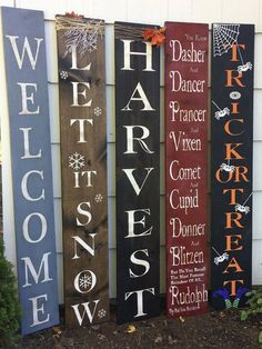 Trick Or Treat Halloween Sign Porch Sign Fall Decor Fall Holiday Signs, Fall Signs, Christmas Signs, Fall Pallet Signs, Fall Wood Signs, Christmas Vinyl, Rustic Christmas, Christmas Stuff, Christmas Projects