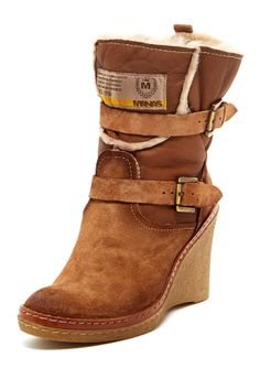 Manas Footwear Leather Wedge Boot; so much more mature and fashionable than Ugg boots