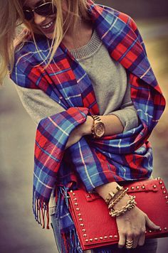 Grey Sweater + Plaid + Red Clutch