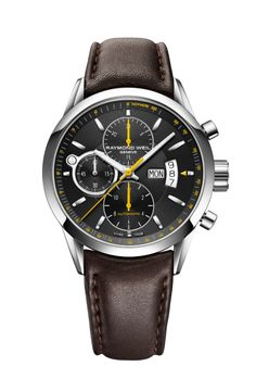 Freelancer 7730-STC-20021 Mens Watch - Freelancer Automatic chronograph Steel on leather strap black dial | RAYMOND WEIL Genève Luxury Watches