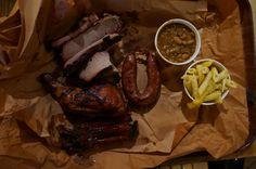 Hill Country - The Pitmaster, beef ribs, pork ribs, 1/4 chicken, brisket, and two sides + Kreuz Jalapeno Cheese Sausage