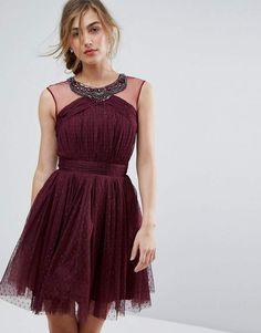 $48 Little Mistress Embellished Mesh Top Full Prom Skater Dress (affiliate link)