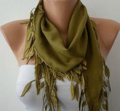 Olive Green Scarf   Pashmina Scarf   Cowl with Lace by fatwoman, $13.50