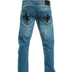 Men's Medium Wash Jeans w/ Pocket Stitching Design Classic medium wash, relaxed fit and a cool stitched design on the back pockets. Jeans