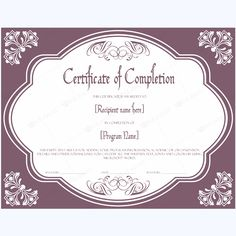 Certificate Templates Microsoft Word Impressive 25 Best Certificate Of Completion Templates Images On Pinterest .