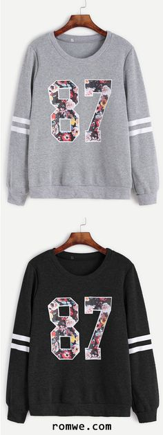Varsity Print Sweatshirt 1987 the year Lee Minho was born. Casual Outfits, Fashion Outfits, Womens Fashion, Fashion Trends, Printed Sweatshirts, Hoodies, Cute Sweatshirts, Robes Vintage, Pullover Hoodie