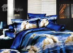 Polar Bear 4 Pieces Polyester Duvet Cover Sets #3d #bedding #bedroom