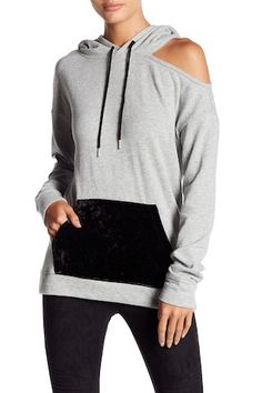 Abound Womans Gray Cold Shoulder Hoodie Sweater Kangaroo Pocket Sz S NWT Sweater Hoodie, Grey Sweater, Cold Shoulder Sweater, Fashion Outfits, Womens Fashion, Nordstrom Rack, Color Blocking, Hooded Jacket, Boutique