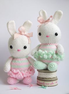 Large Amigurumi Crochet Bunny. Lovely new baby, birthday or baby girls christening gift. Pink, white and green yarn. New baby girl. Available from  ETSY. Hand made with love by Kinderkraft!