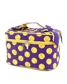 Purple with Gold Polka Dots Cosmetic Train Case Purple Yellow, Mellow Yellow, Orange, Cosmetic Train Case, Personalised Gifts Unique, Yellow Cottage, Embroidery Bags, Gold Polka Dots, Monogram Gifts