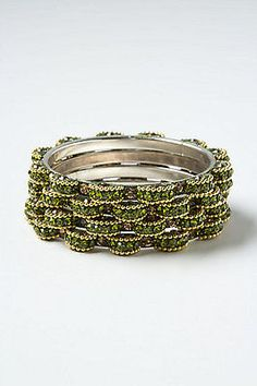 NEW Anthropologie SEQUIN BITS BANGLE SET IN GREEN