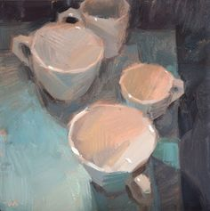 Carol Marine's Painting a Day: Cups on Blue