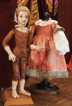 """Early German Carved Wooden Lady with Enamel Eyes and Fully-Articulated Body 18"""" (46 cm.)"""