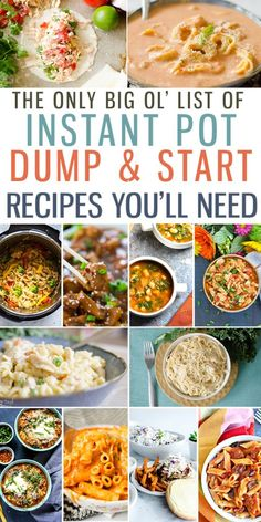Instant Pot Dump and Start Dump and Start Recipes is a big long list of the best. - food & drinksInstant Pot Dump and Start Dump and Start Recipes is a big long list of the best Dump and Start Instant Pot Recipes around! This round-up makes meal p Best Instant Pot Recipe, Instant Recipes, Instant Pot Dinner Recipes, Recipes Dinner, Instant Pot Meals, Chicken Breast Instant Pot Recipes, Birthday Dinner Recipes, Frozen Chicken Recipes, Easy Healthy Recipes