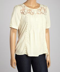 Another great find on #zulily! Oatmeal Mesh Embroidered V-Neck Top - Plus by IRE #zulilyfinds