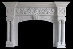 White Marble columns round tapered with decorative cap and base on a fireplace mantel Stone Fireplac Sandstone Fireplace, Marble Fireplace Mantel, Fireplace Mantel Surrounds, Fireplace Garden, Fake Fireplace, Fireplace Built Ins, Shiplap Fireplace, Freestanding Fireplace, Rustic Fireplaces