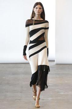 Donna Karan Resort 2014 #donnakaran #wwd - Oh My God, quero já!!!! assimetric, dress, black & white, party dress, love it