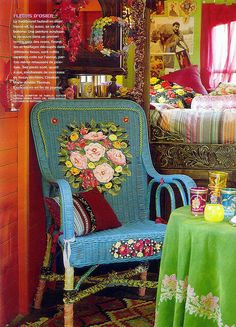Painted Wicker Chair Great Boho, Gypsy , Traditional Mexican Folk Style  Decor Love These Says Frida