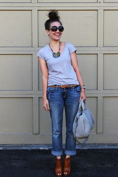 gray tee, cuffed jeans, peep toe boots & a statement necklace