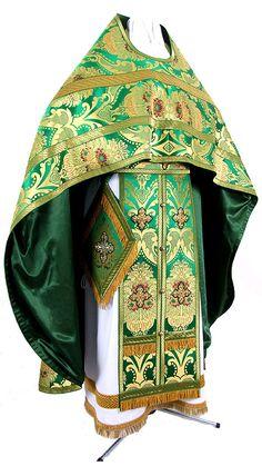 Russian Priest vestments - metallic brocade BG4 (green-gold) - Istok Church Supplies Corp.