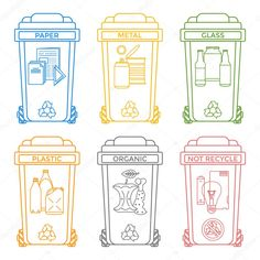 Vector various colors outline separated recycle waste bins icons labels signs white backgroun Recycling Activities For Kids, Recycling For Kids, Recycling Center, Science Clipart, Dinosaur Posters, First Grade Lessons, Recycle Symbol, Recycling Containers, Environment Day