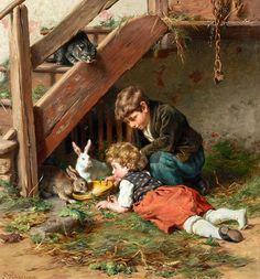 Felix_Schlesinger_-_Die_Nachmittagsfütterung.jpg Felix Schlesinger (1833-1910)