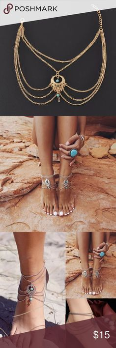 Pair Gold & Turquoise Anklet Swim Foot Jewelry This listing is for 1 PAIR GOLD anklets. Additional photos added Friday Jewelry Bracelets