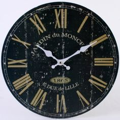 Large Vintage Rustic Black French Wall Clock - Kitchen Shabby Chic Retro Home Shabby Chic Wall Clock, Rustic Wall Clocks, Vintage Stil, Vintage Shabby Chic, Vintage Black, Farmhouse Clocks, French Clock, Black Clocks, French Walls