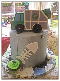Garbage truck party cake
