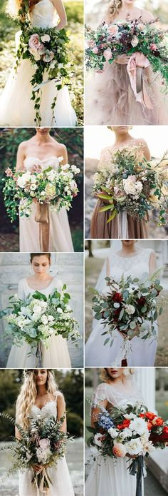 oversized organic floral wedding bouquets with ribbons