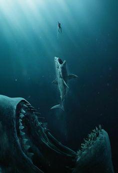 Mythical Creatures Art, Ocean Creatures, Fantasy Creatures, Shark Pictures, Shark Photos, Scary Ocean, Hai Tattoo, Shark Art, Meg Shark