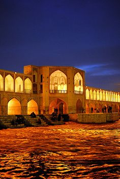 Khaju bridge at night, Esfahan, Iran