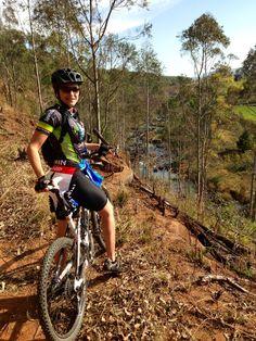 Mountain biking through the Karkloof forest, Kwazulu-Natal, South Africa...Nice view