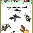 A fun set of activities for learning about antonyms, synonyms and similes  This includes: P2 -5 I have, who has robot card match cards P6-9 Antonym...
