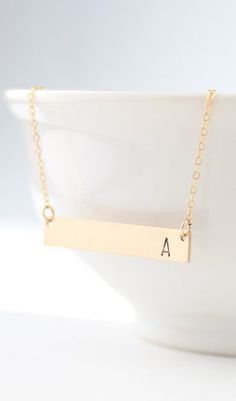Gold Bar Initial Necklace - Personalized