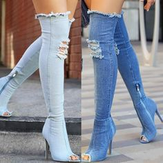 Fashion Ripped Open Toe Knee-High Demin Boots