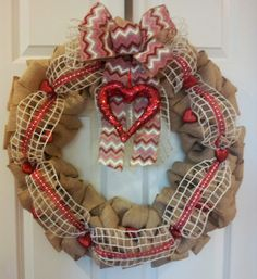 Give your front door some love this Valentine's Day with a beautiful burlap wreath from Southern Grace.