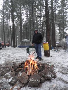 campfire in the snow - Google Search