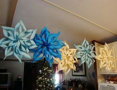 Paper Snowflakes.... What a great way to make snowflake ornaments to match your Christmas décor! I would never have guessed how easy these are. The kids now have a project to begin that's affordable to do with a group of friends.!